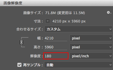 Adobe Photoshop画像解像度
